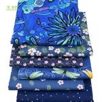 Passion Yoga Lot de 6 carrés de tissus - Coton - Imprimés Fleurs Bleu Royal