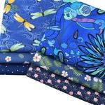 Lot de 6 carrés de tissus - Coton écologique - Imprimés Fleurs Bleu Royal
