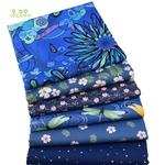 Lot de 6 carrés de tissus - Coton - Imprimés Fleurs Bleu Royal - Masques Tissus