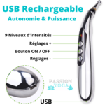 ACUPEN - Stylo USB rechargeable acupuncture + Gels conducteurs + 3 têtes