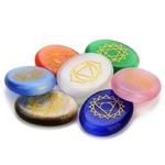 7 Pierres de Chakra Gravées - Agate de Cristal naturelle - Protectioni