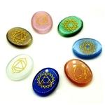 7 Pierres de Chakra Gravées - Agate de Cristal naturelle - Prière méditation chance guérison