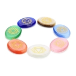 Passion Yoga Pierre de chance 7 Pierres de Chakra Gravées - Agate de Cristal naturelle - Protection