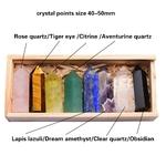 8 Pierres en Cristal naturel - Prisme de Guérison pour Reiki