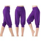 Pantalon court de yoga ou taichi - violet - 3XL