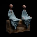 Lot de deux - Statue de Moine en Céramique bleu - 16 cm - Passion yoga