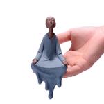 cadeau- Statue de Moine en Céramique bleu - 16 cm - passion yoga