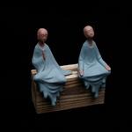 idée cadeau - Statue de Moine en Céramique bleu - 16 cm