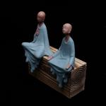 Statue de Moine en Céramique bleu - 16 cm - Passion yoga