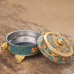 Brûleur support dencens style tibétain en alliage de cuivre