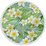 Serviette de plage - Tapis de méditation - 150 CM - Motifs Jungle - Iris vert