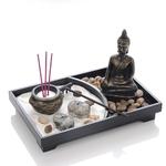 Jardin Spirituel zen - Sable - Statue de Bouddha - Brûleur d'encens - Pour méditation