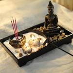 Jardin Spirituel zen - Sable - Statue de Bouddha - Brûleur dencens - Pour méditation yoga