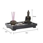 Dimensions Jardin Spirituel zen - Sable - Statue de Bouddha - Brûleur dencens - Pour méditation
