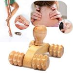 Rouleau de Massage Quatre roues - Visage et Corps - En Bois massif