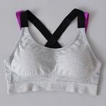 Brassière de Yoga - Grande taille - Rembourrée - Séchage rapide - Grise- S au XL