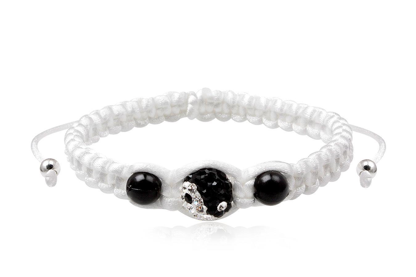 Bracelet soie Shamballa Yin Yang homme