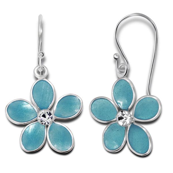 Boucles d\'oreilles fleurs bleus argent émaillé