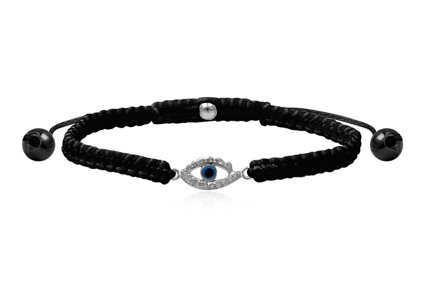 Bracelet macramé petit Œil bleu 1