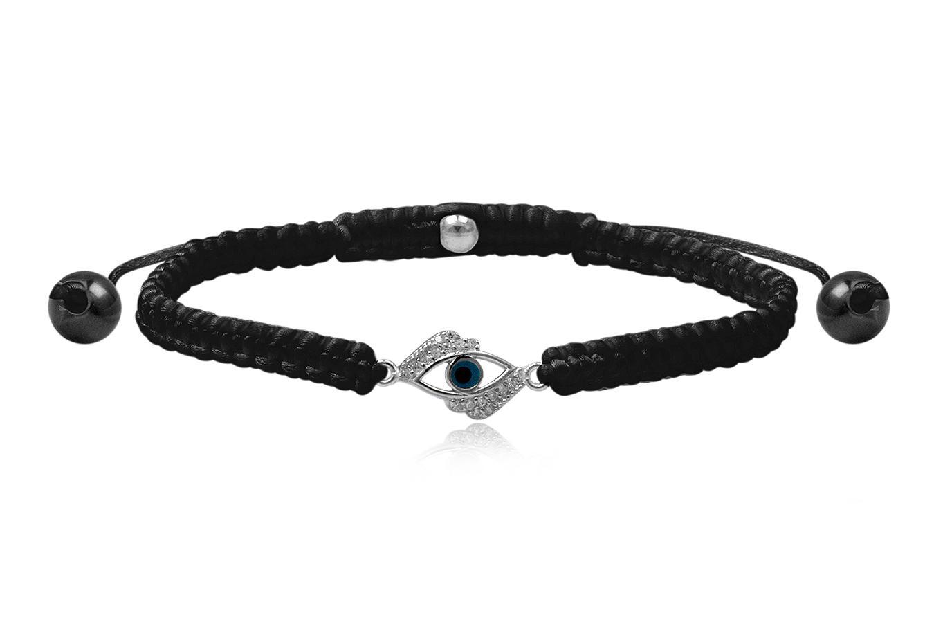 Bracelet macramé petit Œil bleu 4