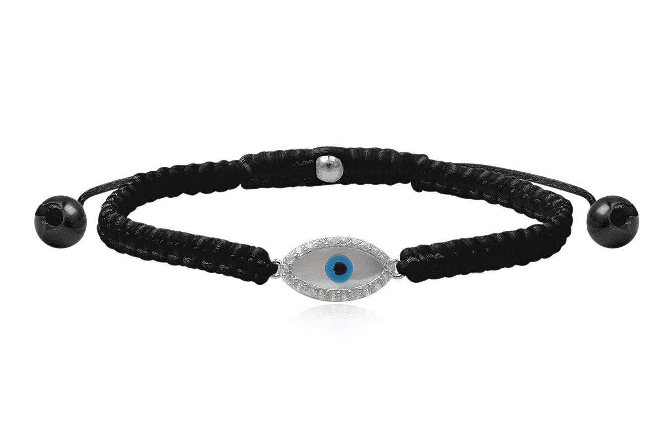 Bracelet macramé grand Œil bleu