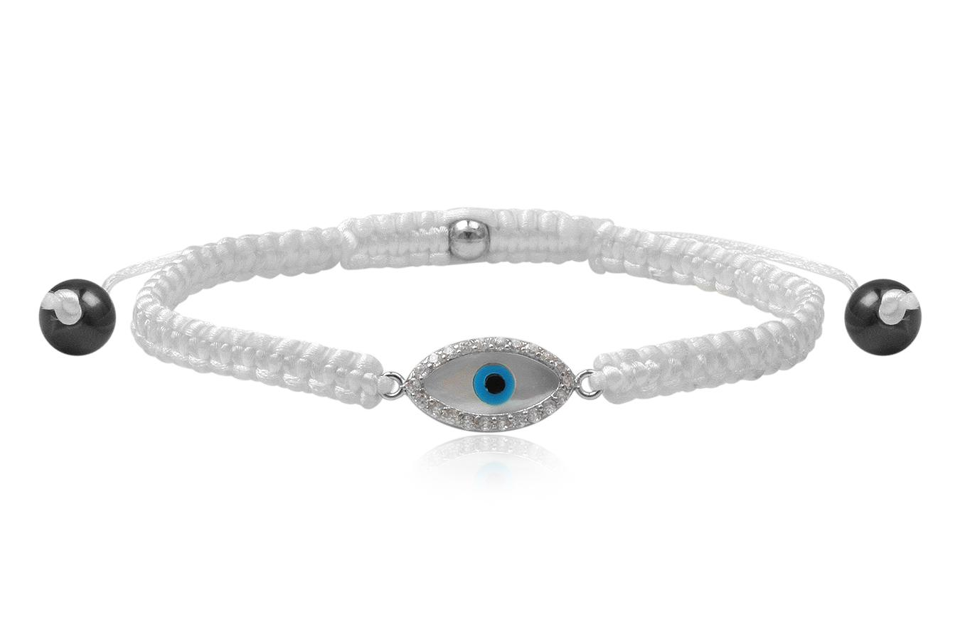 Bracelet macramé petit Œil bleu 6