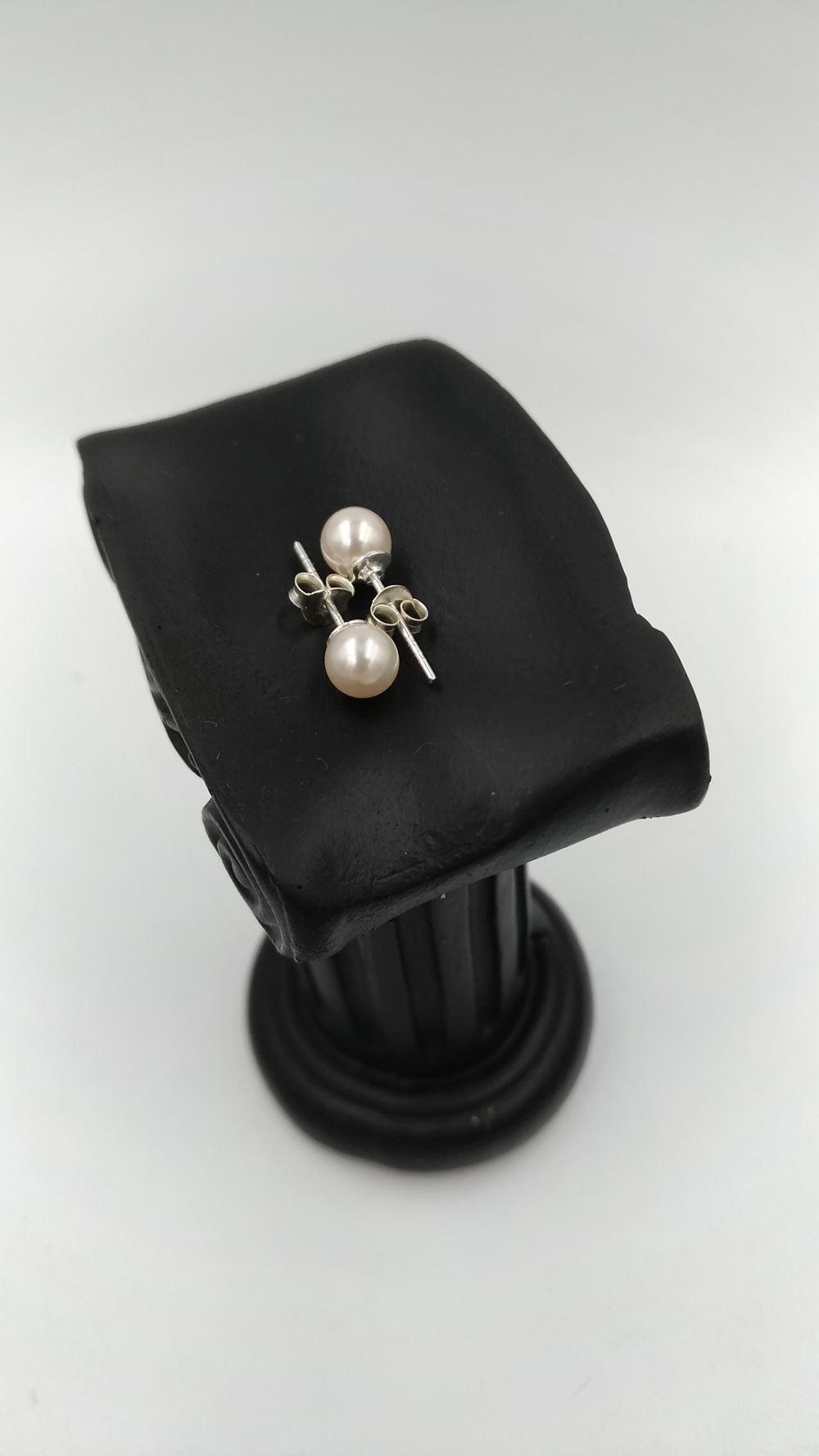 Boucles d\'oreilles argent perles de verre 6 mm