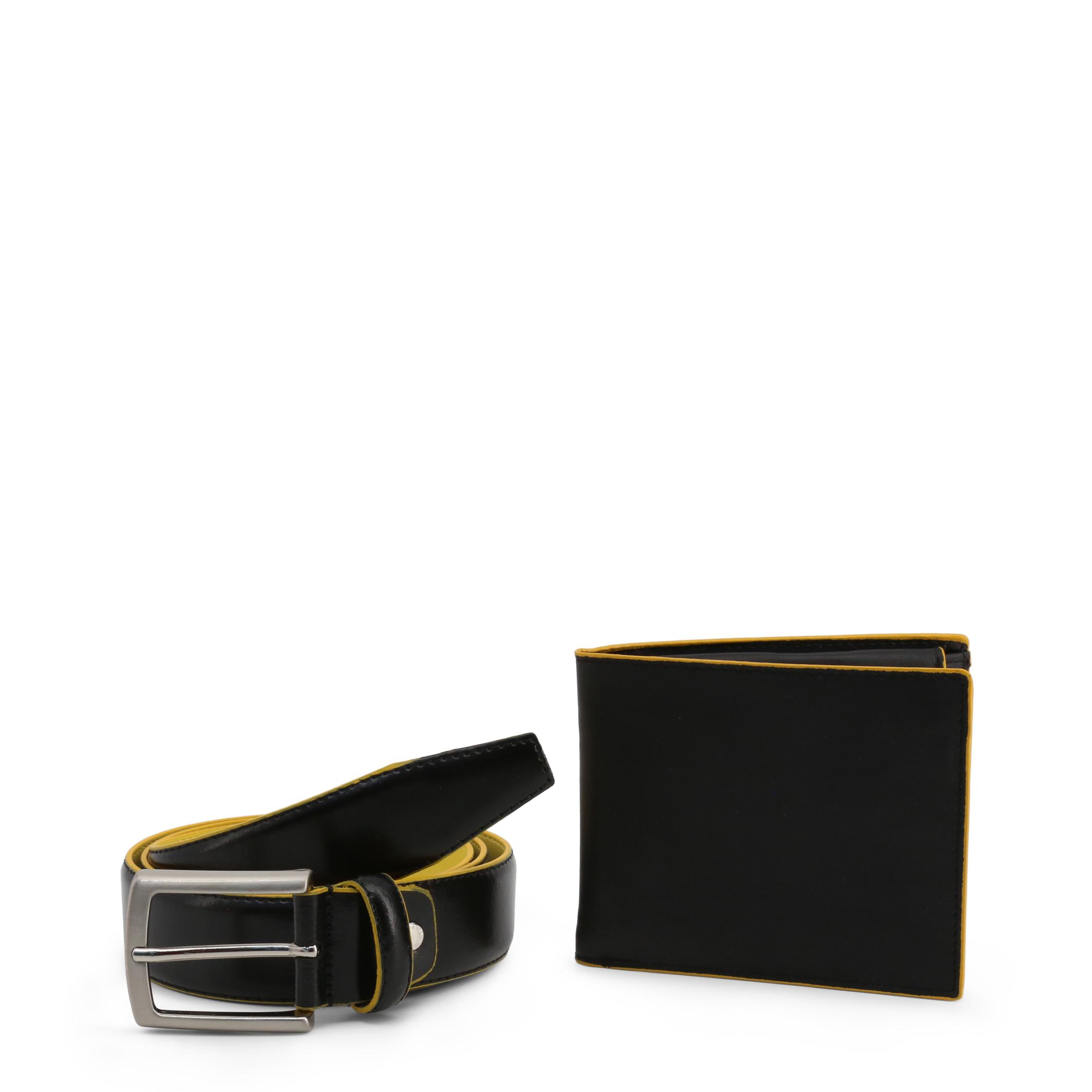 Ensemble ceinture portefeuille homme noir jaune