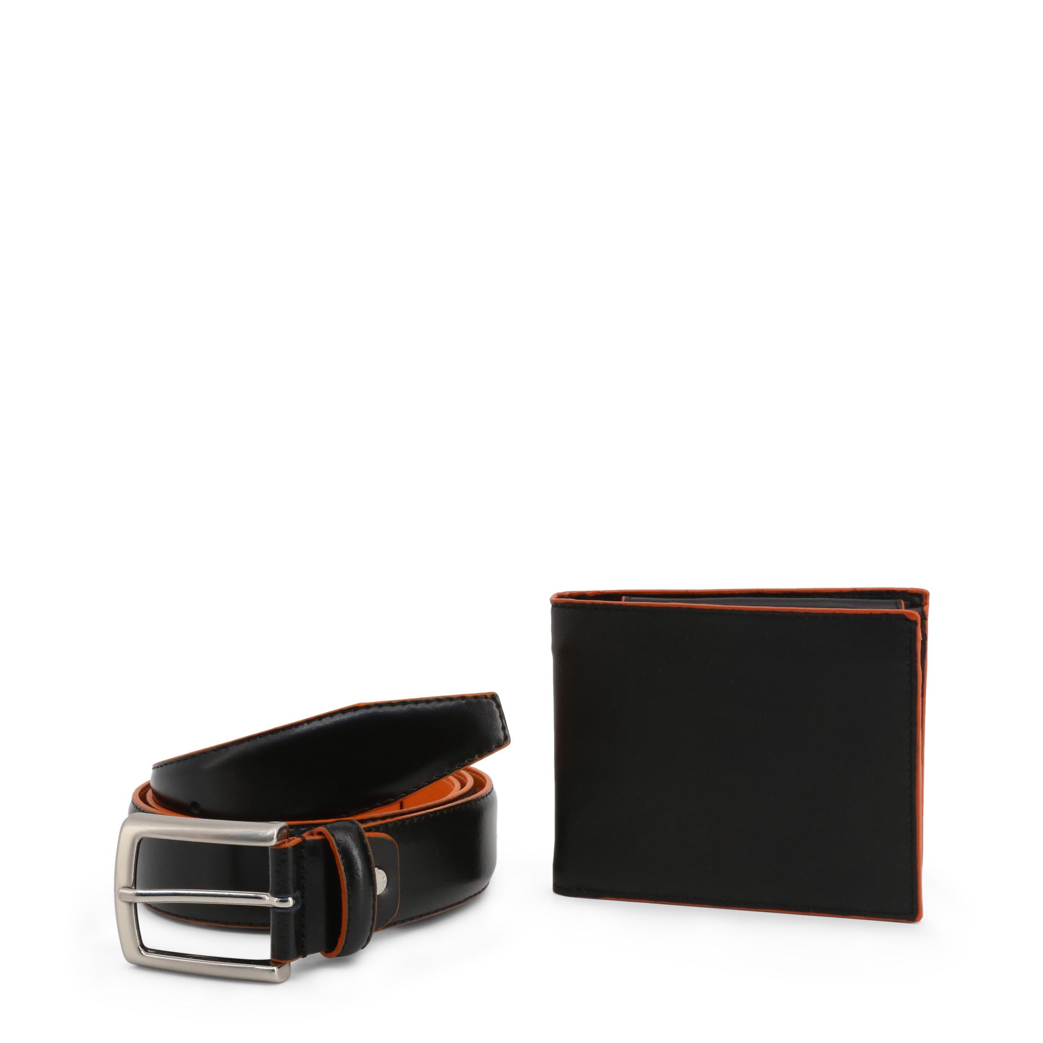 Ensemble ceinture portefeuille homme noir orange