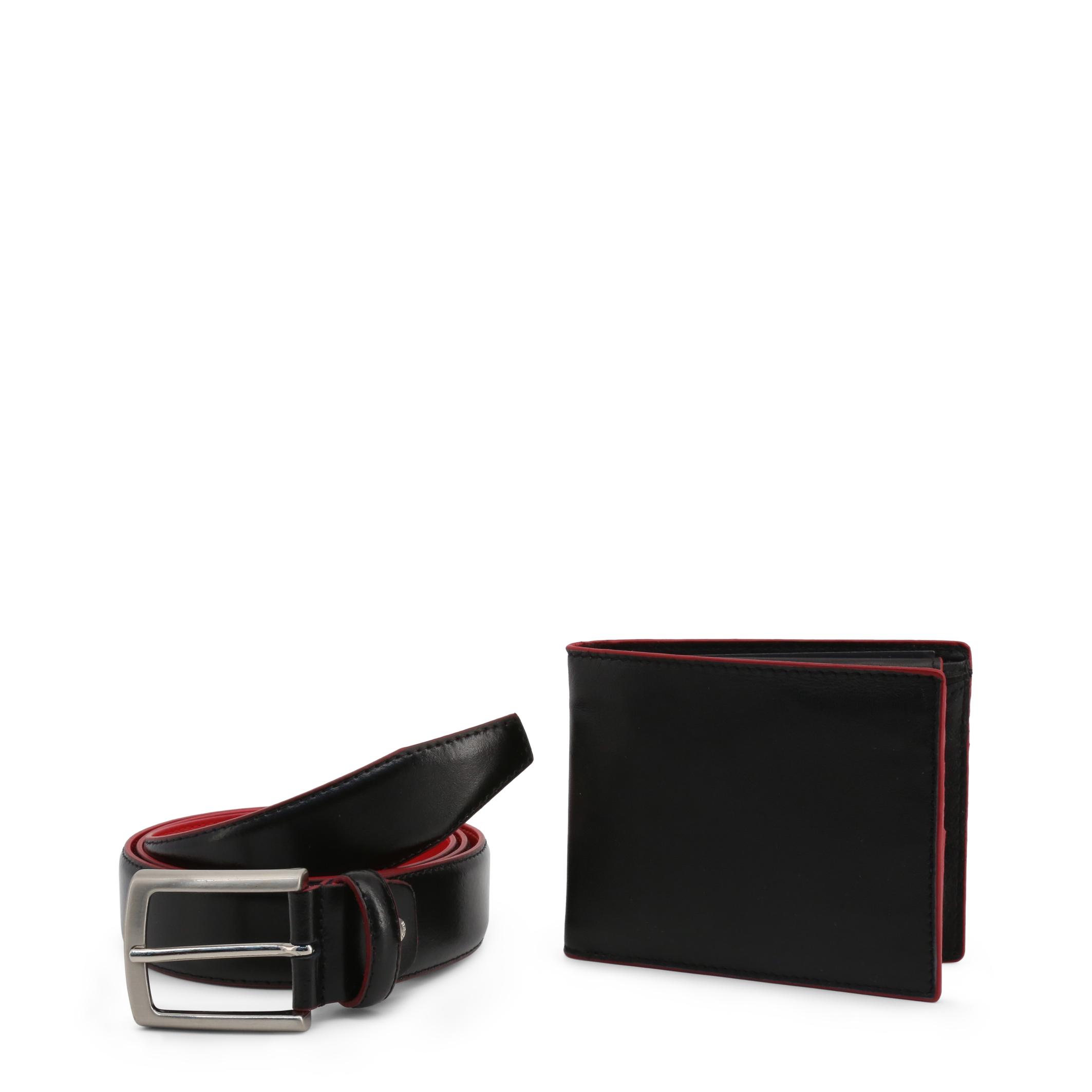 Ensemble ceinture portefeuille homme noir rouge