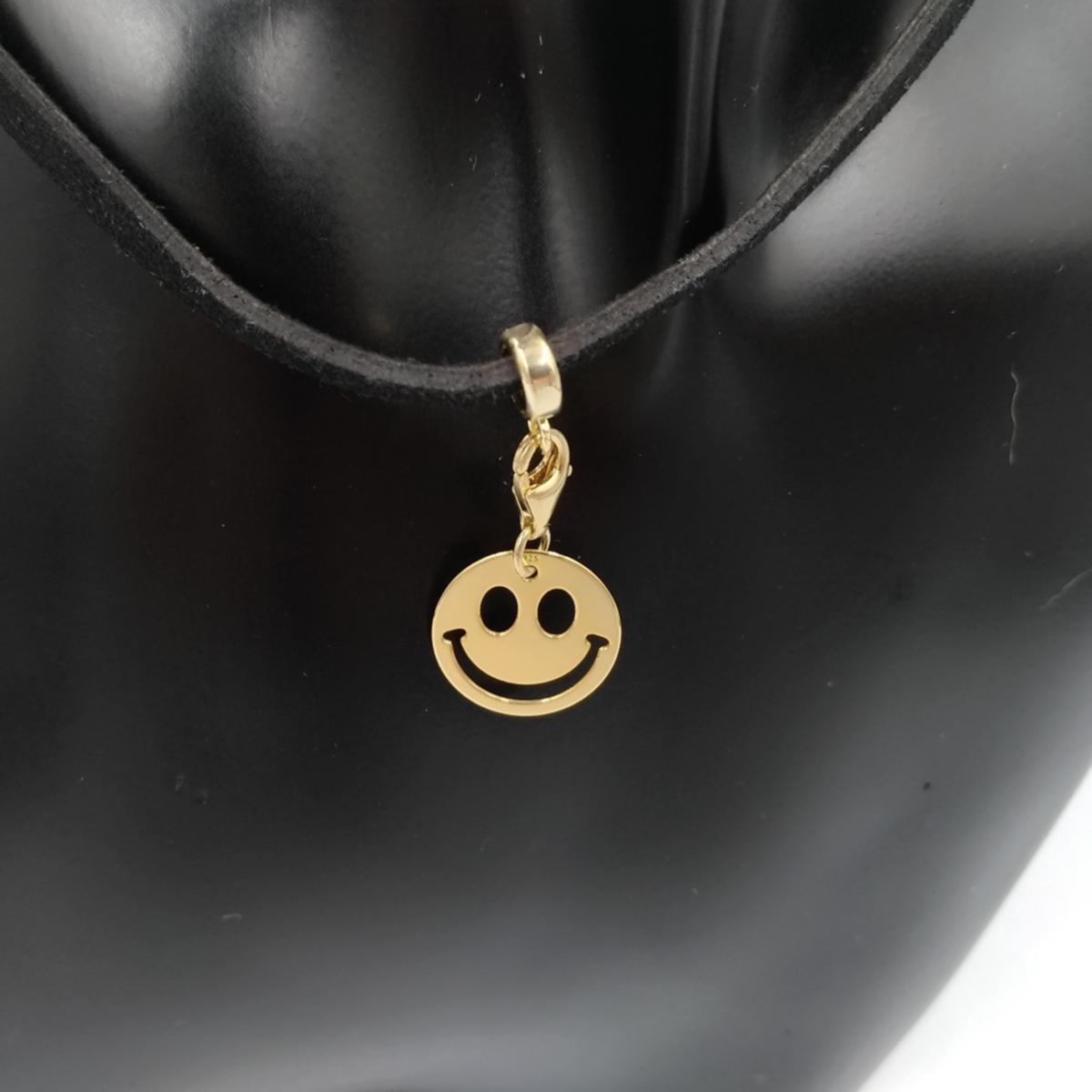 Pendentif charme Smiley or jaune