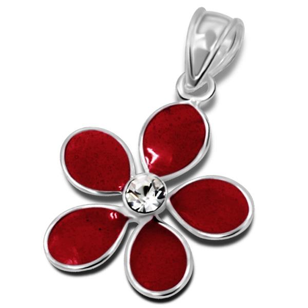 Pendentif Fleur rouge argent émaillé cristal