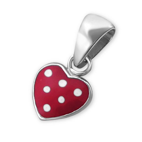 Pendentif petit cœur rouge argent émaillé