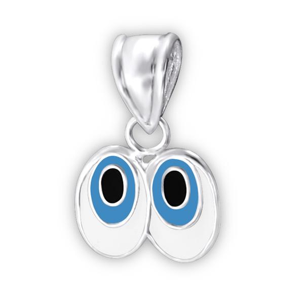 Pendentif paire de grands yeux argent émaillé