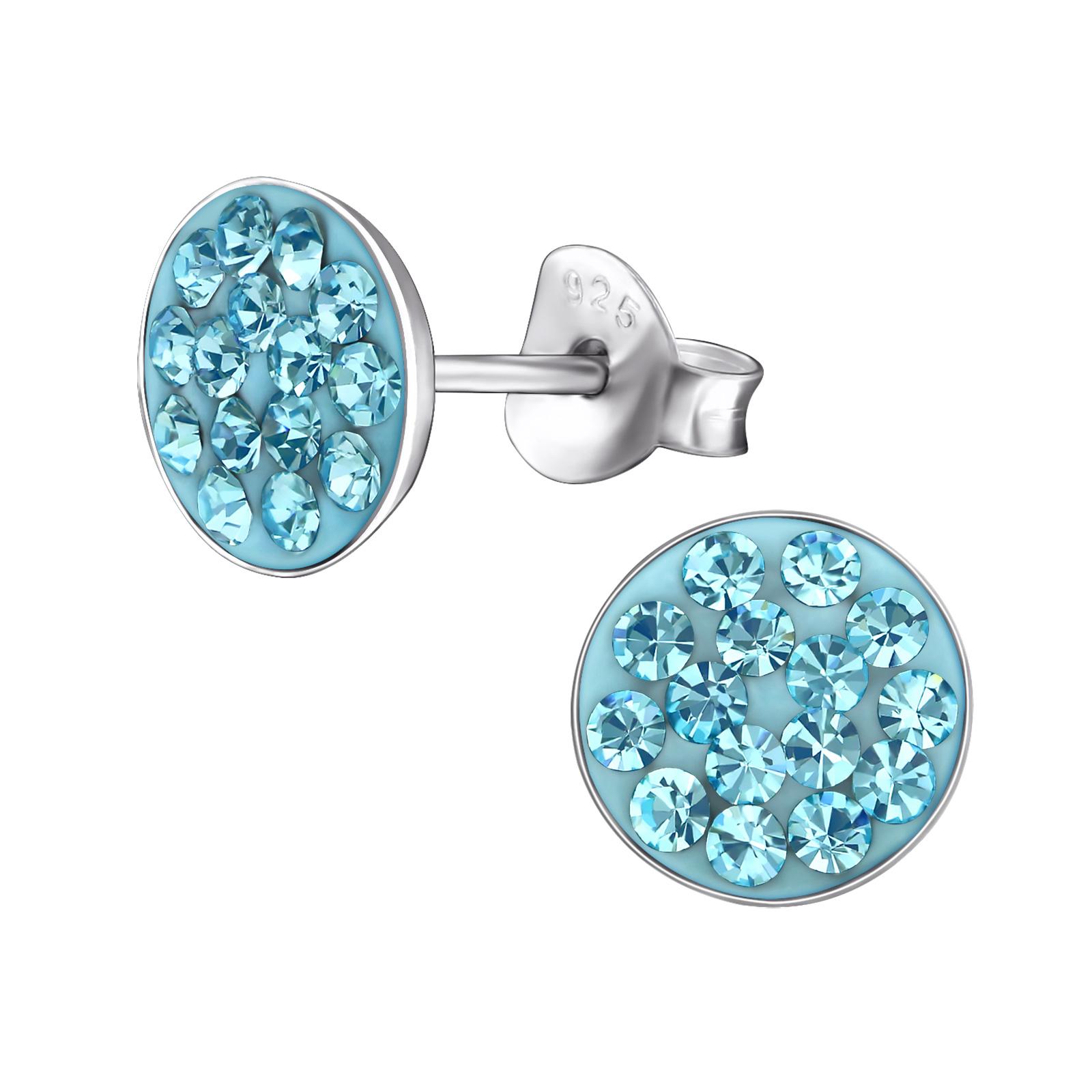 Boucles d\'oreilles rondes argent cristal bleu