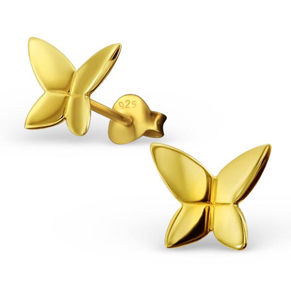 Boucles d\'oreilles Papillons argent or jaune