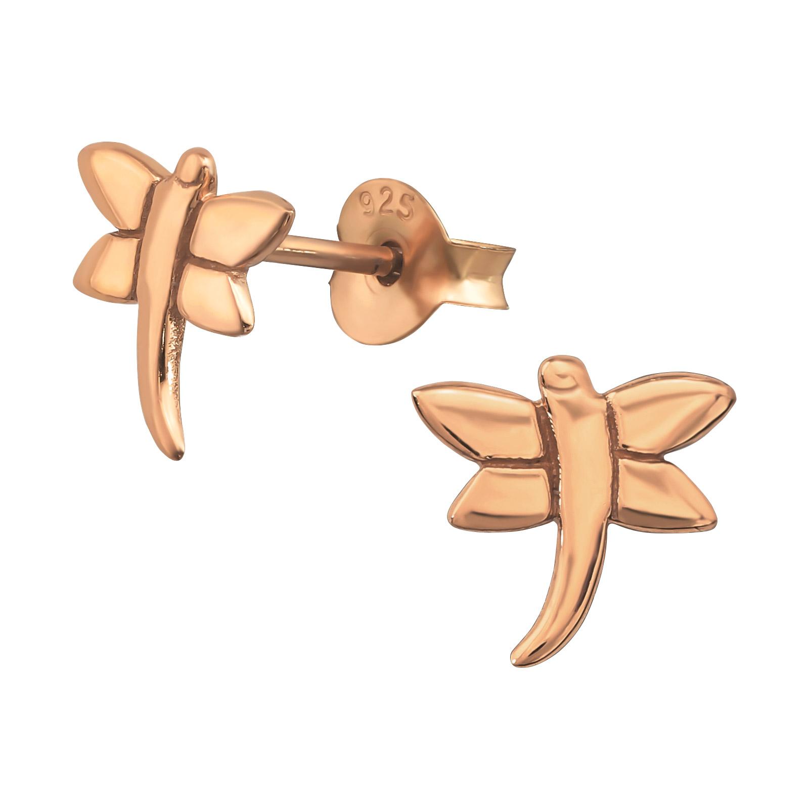 Boucles d\'oreilles Libellules argent or rose