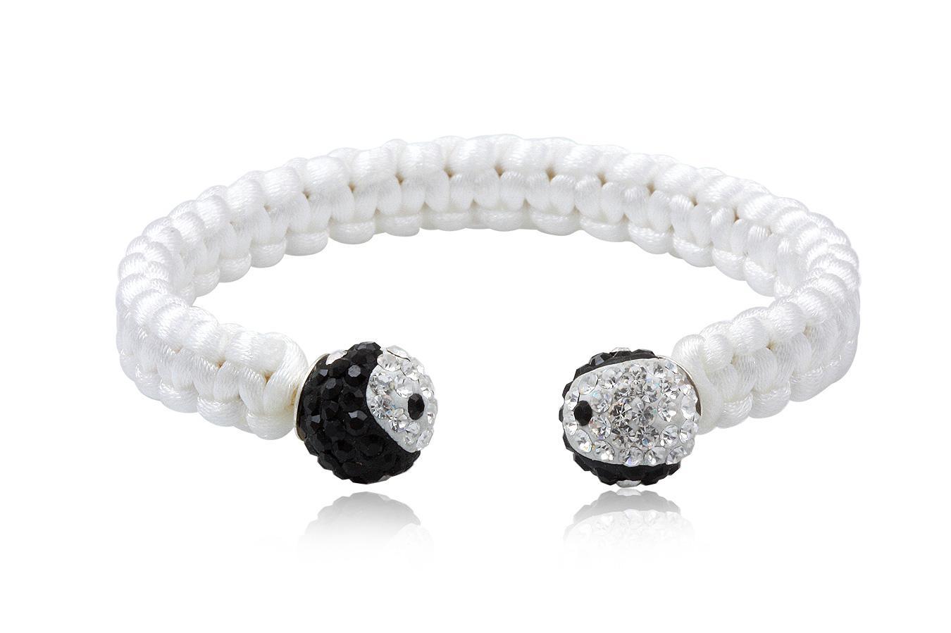 Bracelet Jonc soie blanche cristal preciosa 10