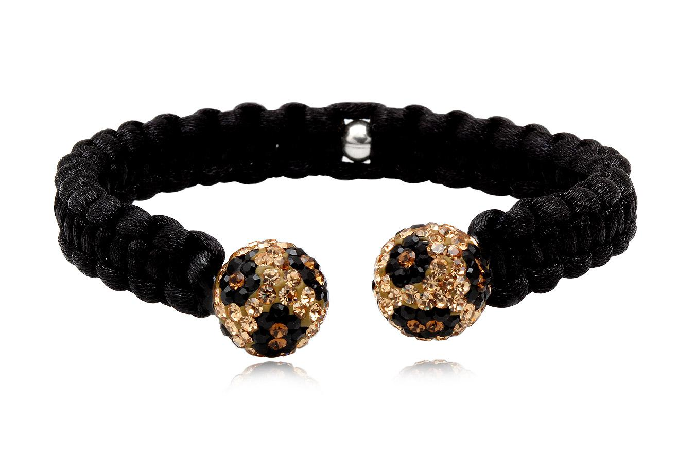 Bracelet Jonc macramé soie noir cristal preciosa 10