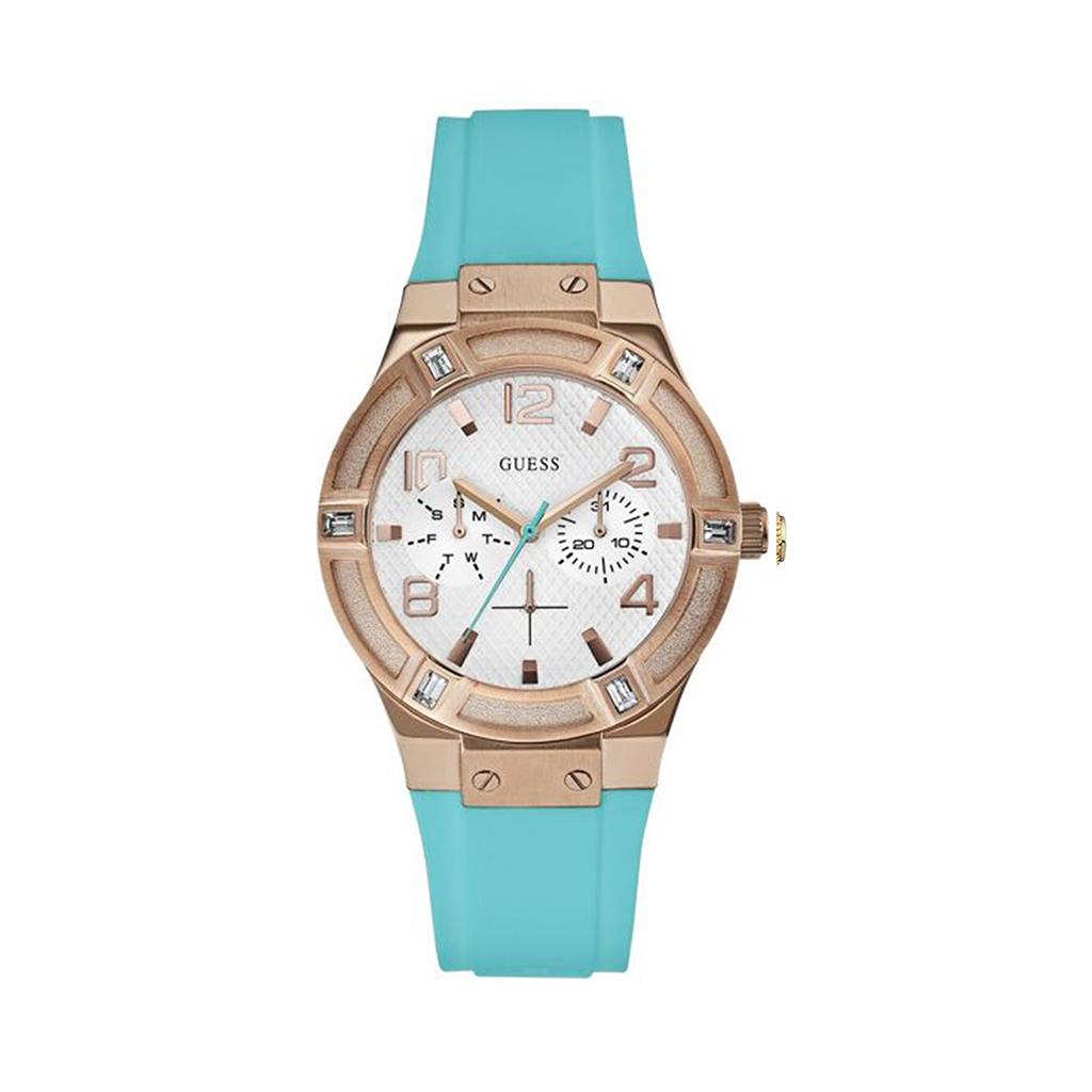 Montre Femme Guess Jet Setter bracelet silicone bleu