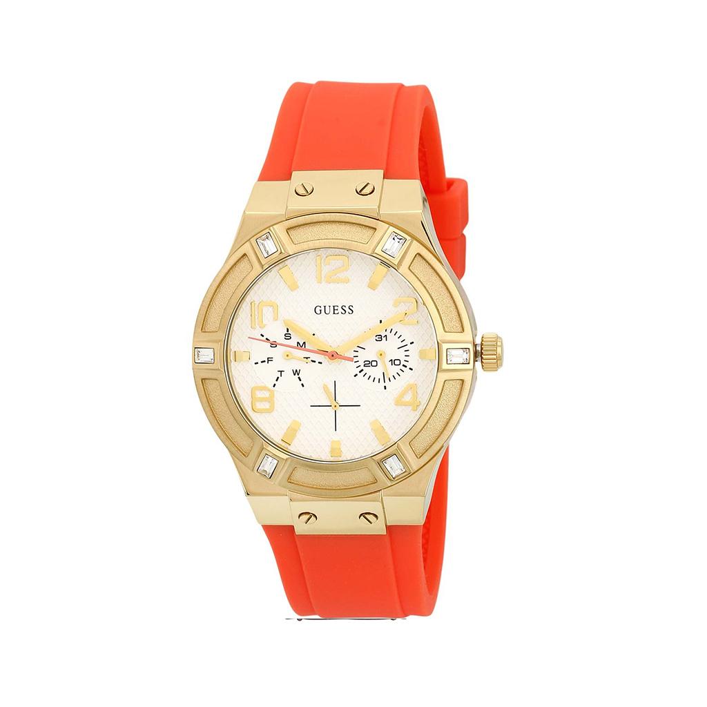 Montre Femme Guess Jet Setter bracelet silicone orange