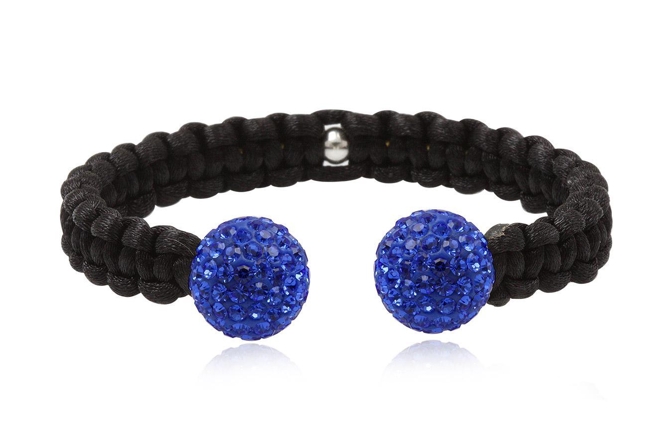 Bracelet Jonc macramé soie noir cristal preciosa 14