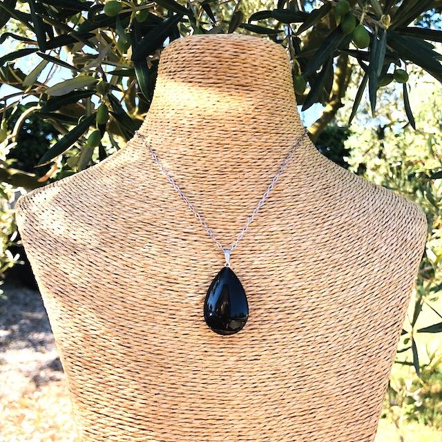 Pendentif Onyx noir goutte pierre naturelle (Chaine non-comprise ! )