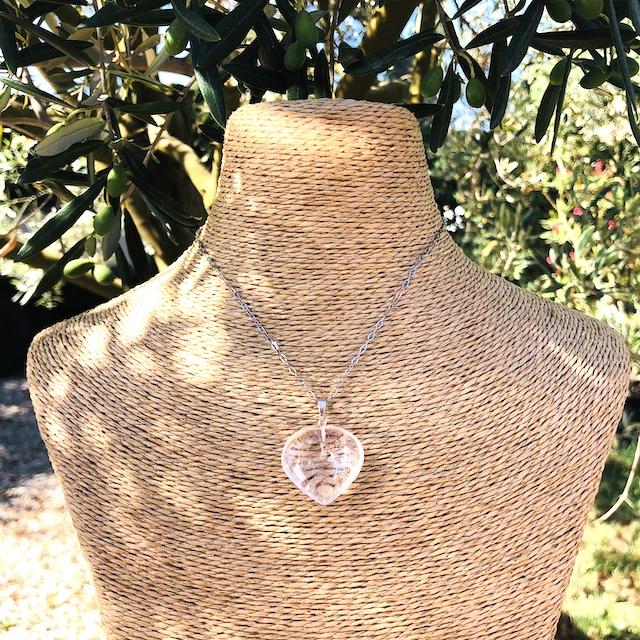 Pendentif Cristal de Roche (Quartz Blanc) coeur GM pierre naturelle (Chaine non comprise !)