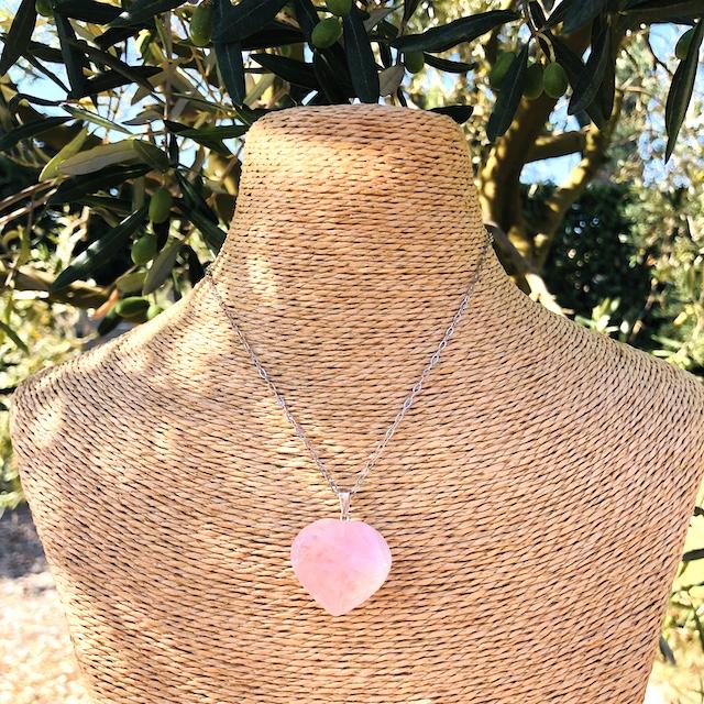Pendentif Quartz Rose coeur GM pierre naturelle (Chaine non comprise !)