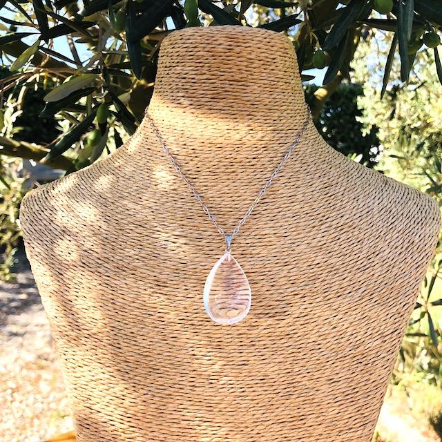 Pendentif Cristal de Roche (Quartz Blanc) goutte pierre naturelle (Chaine non-comprise ! )
