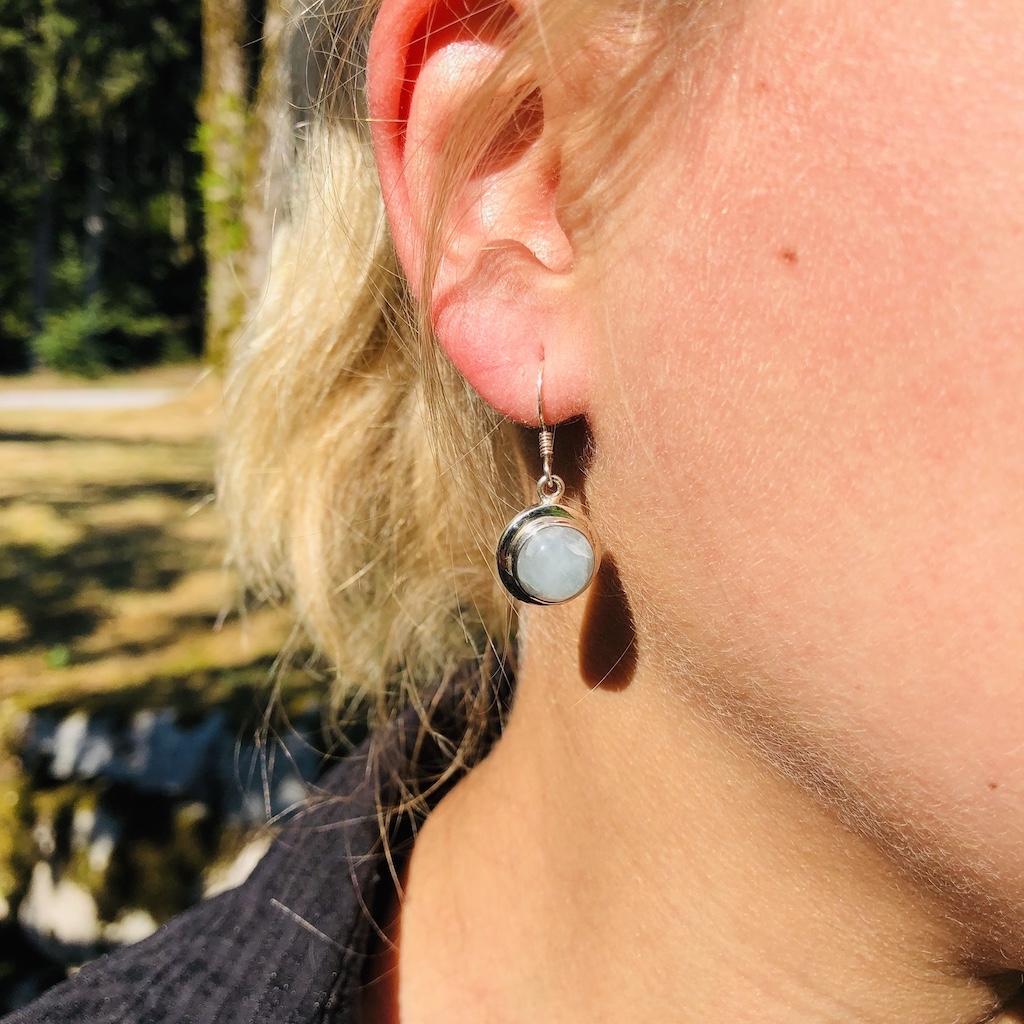 Boucle d\'oreille Aigue-marine avec hornement en argent