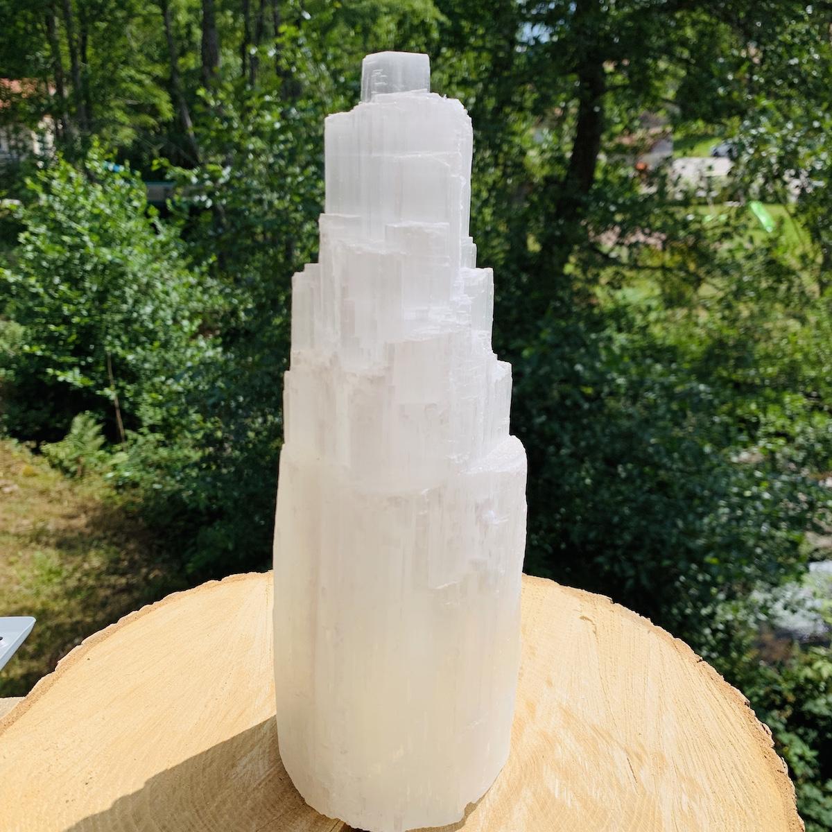 Lampe de selenite hauteur 26 cm environ
