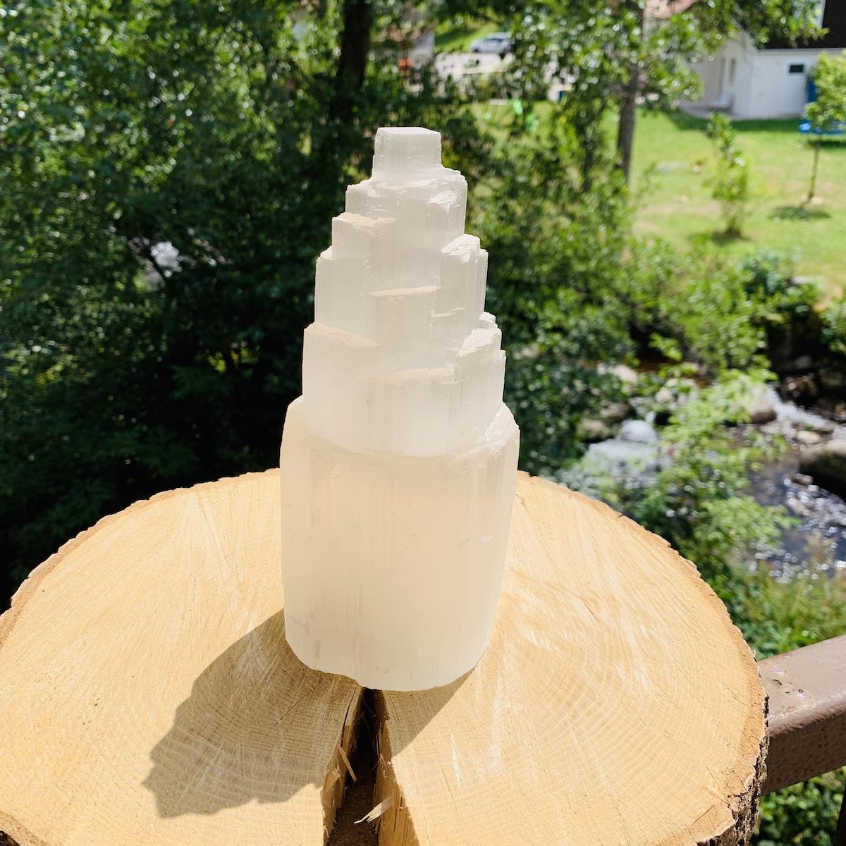 Lampe de selenite hauteur 21 cm environ