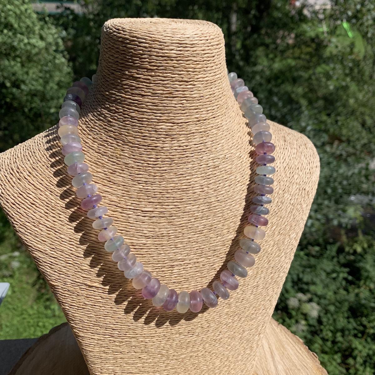 Collier en pierre naturelle de Fluorine 45cm